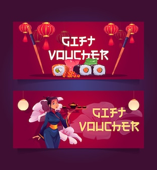 Japanese or chinese restaurant gift voucher certificate for visiting asian cuisine sushi bar or cafe...