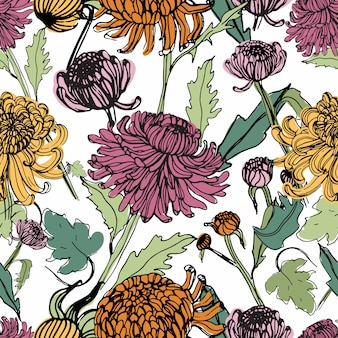 Japanese chrysanthemum hand drawn seamless pattern with buds, flowers, leaves. colorful vintage style illustration.