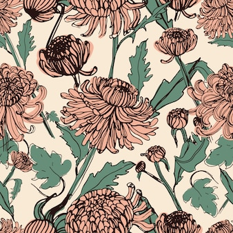 Japanese chrysanthemum hand drawn seamless pattern with buds, flowers, leaves. vintage style illustration.