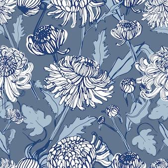 일본 국화 손 꽃 봉 오리, 꽃, 잎으로 그려진 된 완벽 한 패턴. 빈티지 스타일 일러스트.