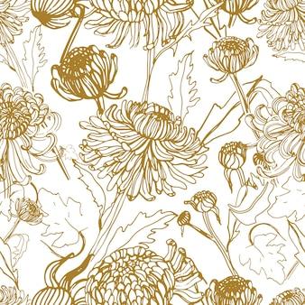 일본 국화 손은 꽃봉오리, 꽃, 잎으로 매끄러운 패턴을 그렸습니다. 빈티지 스타일 그림입니다.
