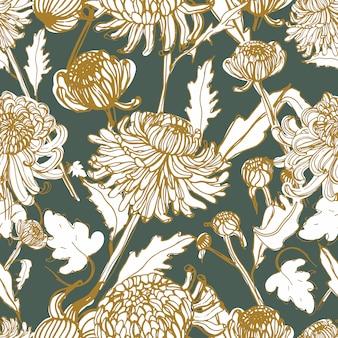 일본 국화 손 꽃 봉 오리, 꽃, 잎으로 그려진 된 완벽 한 패턴.