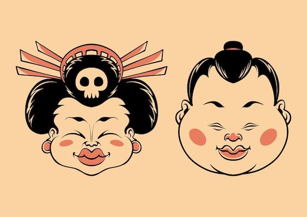 Japanese chubby sumo head