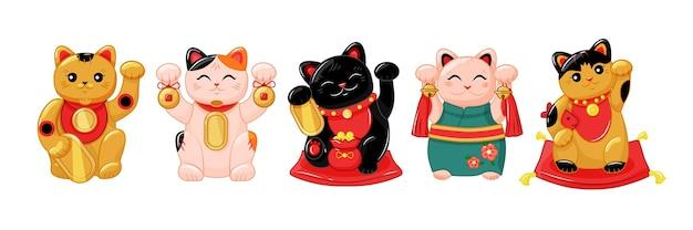 Japanese collection of maneki neko cats in the kartun style