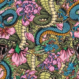 毒ヘビファンタジードラゴン菊と桜の花と日本のカラフルなヴィンテージシームレスパターン