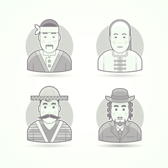 Japanese cook, asian chief, mexican citizen, jewish orthodox man. set of character, avatar and person  illustrations.  black and white outlined style.