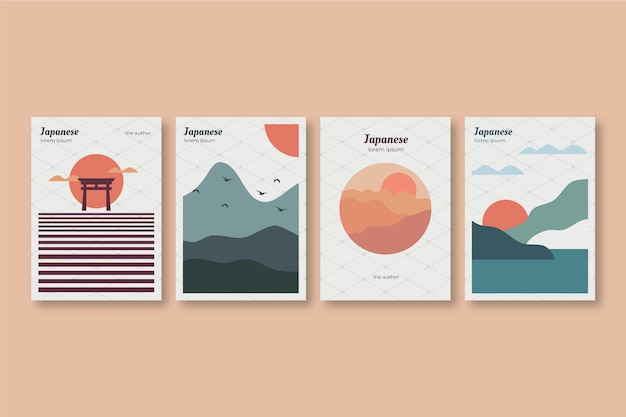 Collezione di copertine giapponesi con giornata di sole minimalista