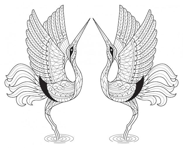 Japanese crane dance. hand drawn sketch illustration for adult coloring book