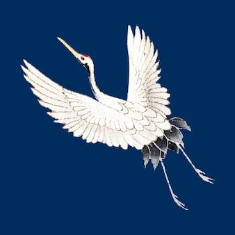 Japanese crane ornamental element vector, remix of artwork by watanabe seitei