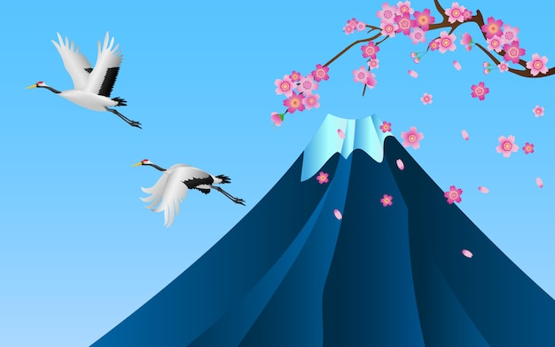 Japanese cranes flying over fuji mountain