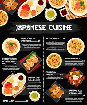 Японская кухня и азиатская кухня, меню ресторана японии с лапшой, морепродуктами и блюдами из риса, вектор. бар японской кухни, ужин и обед, сашими из тунца, рис с морепродуктами и соевый соус