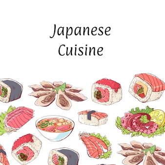 Japanese cuisine background with asian dishes