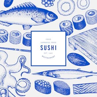 Japanese cuisine banner template.
