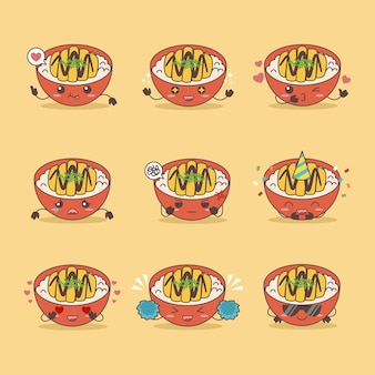Japanese cuisine chicken katsu ricebowl vector illustration set icon with various expressions