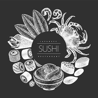 日本料理のデザイン。寿司は、チョークボードに描かれたイラストを手します。レトロなスタイルのアジア料理の背景。