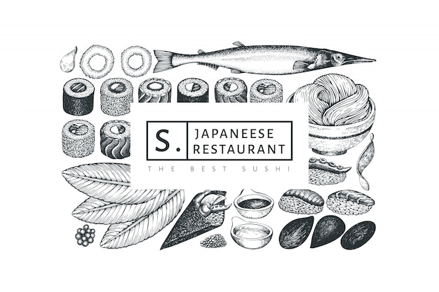 Japanese cuisine design template. retro style sian food background.