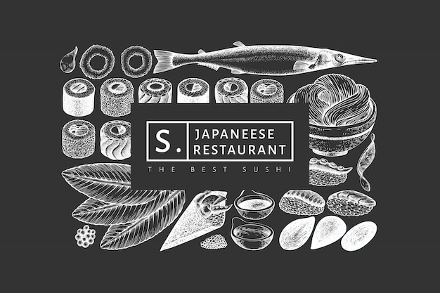 Japanese cuisine design template. sushi hand drawn  illustration on chalk board. retro style asian food background.