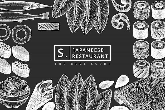 日本料理のデザインテンプレート。寿司はチョークボードに描かれたイラストを手します。レトロなスタイルのアジア料理の背景。
