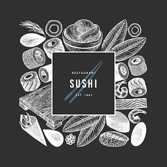 Japanese cuisine design template. sushi hand drawn vector illustration on chalk board. retro style asian food background.