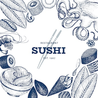 Japanese cuisine design template. sushi hand drawn vector illustrations. retro style asian food background.