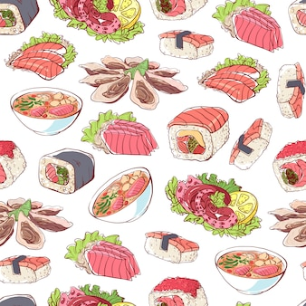 Japanese cuisine dishes pattern on white background