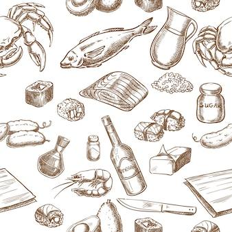 Японская кухня ингредиенты бесшовные