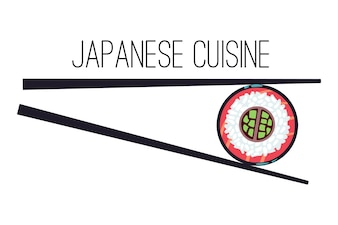 Japanese cuisine menu food logo template