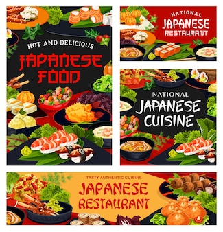 Japanese cuisine restaurant dishes posters and banners. kenko yaki, rice with seafood and philadelphia roll, nigiri, temaki and uramaki sushi, noodle and shrimp soup, ice cream and shish kebab vector