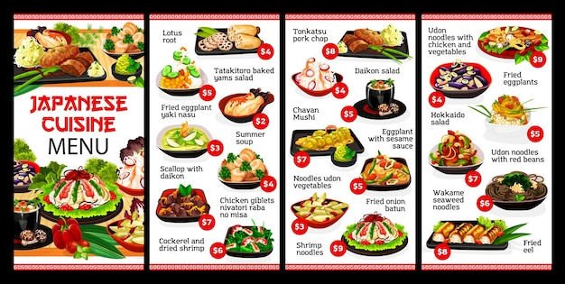 Дизайн иллюстрации меню ресторана японской кухни