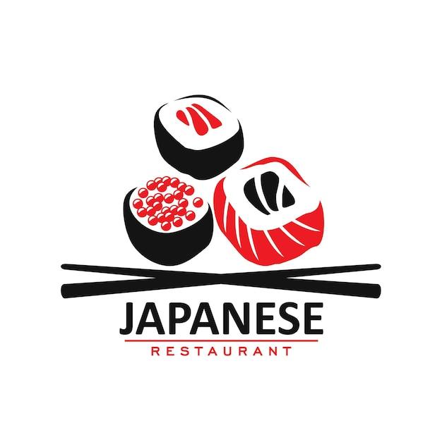 Значок ресторана японской кухни, рулеты и палочки
