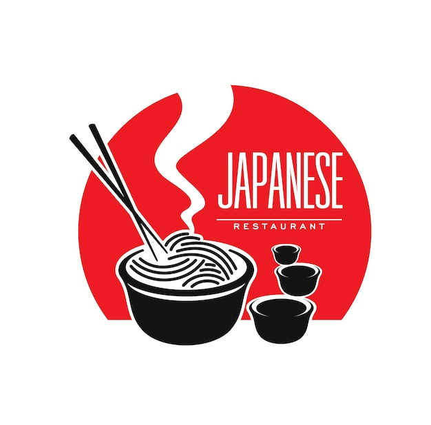 Japanese cuisine restaurant icon with noodles and sauce, vector symbol. japan and asian food bar or cafe and restaurant emblem with japanese ramen or udon noodles an chopsticks