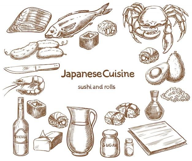 일본 요리 스시와 롤 재료