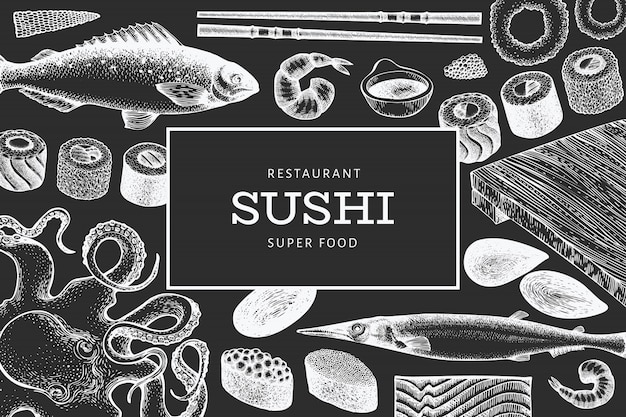 Japanese cuisine  template. sushi hand drawn  illustration on chalk board. retro style asian food background.