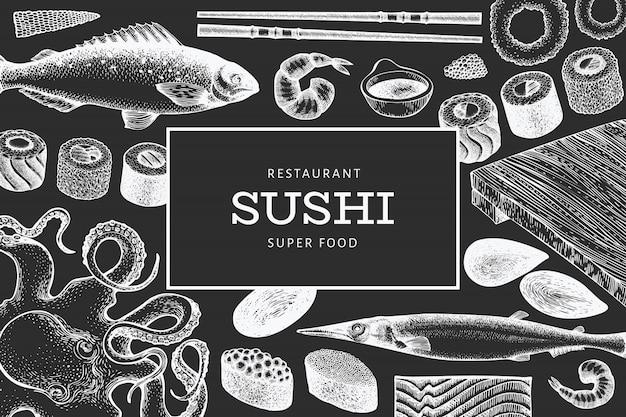 일본 요리 템플릿. 초 크 보드에 초밥 손으로 그린 그림입니다. 레트로 스타일 아시아 음식 배경입니다.