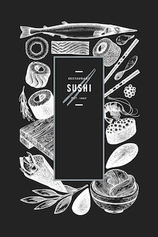 日本料理のテンプレート。寿司は、チョークボードに描かれたイラストを手します。レトロなスタイルのサイアン料理。