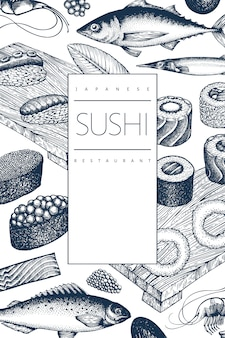 Japanese cuisine  template. sushi hand drawn  illustrations. retro style sian food background.