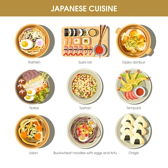 Japanese cuisine traditional dishes vector flat icons set
