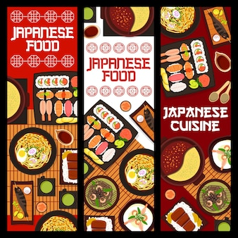 Japanese cuisine vector banners, food of japan.