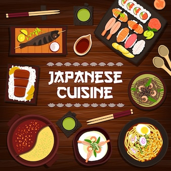 Japanese cuisine vector grilled fish skewers, nigiri and uramaki sushi, shrimp soba noodles or matcha tea. noodle soup with egg, prawn cream soup and kobe beef steak with rice and hot pot japan food
