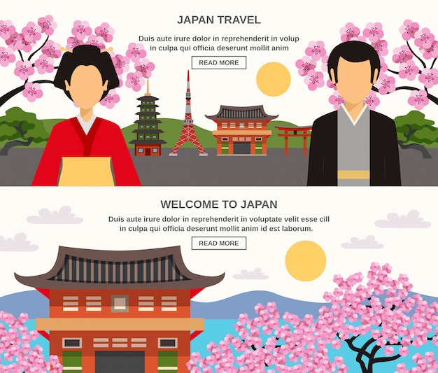 Japanese culture 2 horizontal banners set