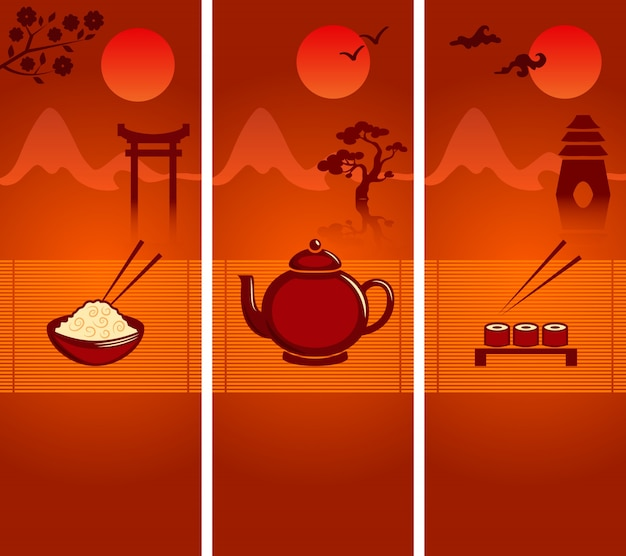 Japanese culture banners or bookmarks template collection with rice teapot and sushi vector illustration