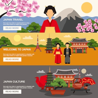 Japanese culture horizontal banners set