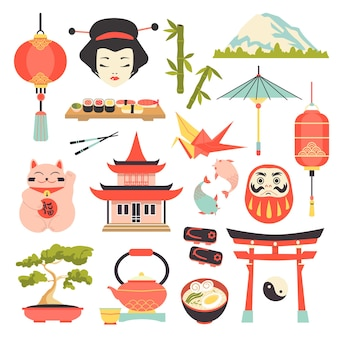 Japanese culture icons set.
