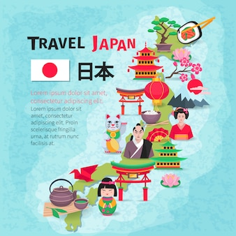 Japanese culture and national symbols with country map and flag for travelers flat poster abstract