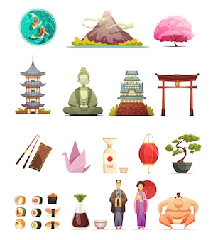 Japanese culture traditions cuisine retro cartoon icons collection with cherry blossom bonsai
