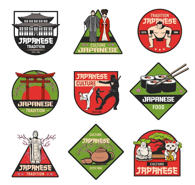 Japanese culture and traditions icons