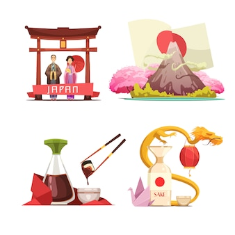 Japanese culture traditions for travelers 4 retro cartoon square composition with sushi and sake iso