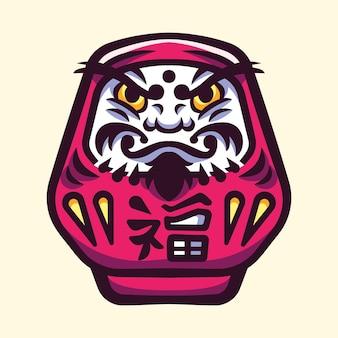 Японская кукла дарума иллюстрации логотип