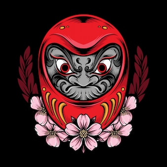 Japanese daruma and illustration