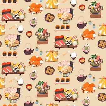 日本のおいしい食事のシームレスパターン